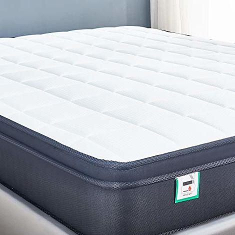 Cool Blue Memory Foam Mattress. Sprung Mattress with Pillow top Ergonomic Design Medium firm feel innerspring memory foam mattress /30 Days Risk-Free Nights Trial