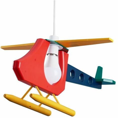 Cool Children'S Bedroom 3D Colourful Helicopter Ceiling Lamp Pendant Light Shade