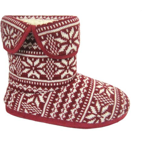 Coolers Mens Fairisle Knitted Fleece Lined Bootie Slippers