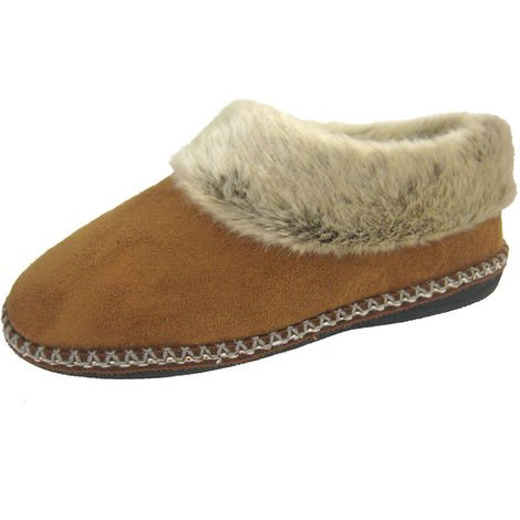 Coolers Womens Decorative Faux Fur Lined Fullback Slippers