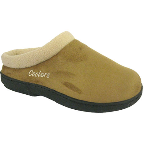 Coolers Womens Embroidered Logo Fleece Collar Mule Slippers