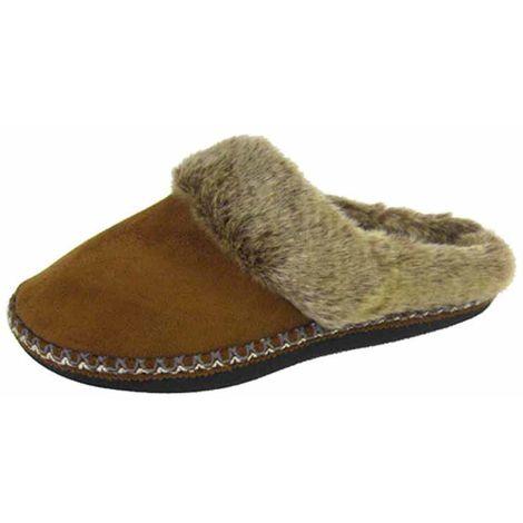 Coolers Womens Faux Fur Lined Microsuede Mule Slippers