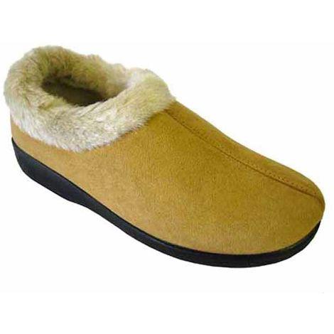 Coolers Womens Microsuede Faux Fur Lined Mule Slippers