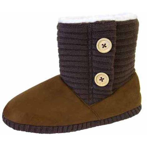 Coolers Womens Microsuede Knitted Collar Ankle Boot Slippers - Brown - 3-4 UK
