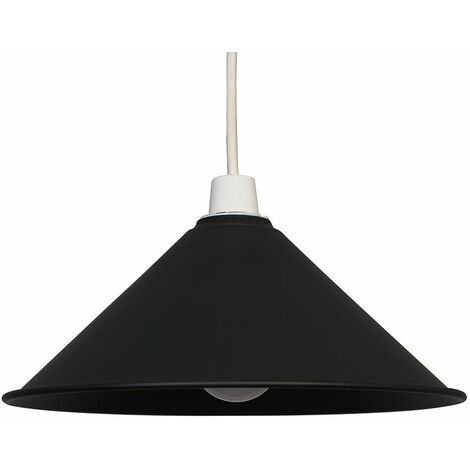 Coolie Metal Ceiling Pendant Light Shade In Black + 6W LED Gls Bulb - Warm White