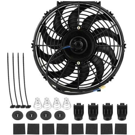"""main image of """"Cooling fan, 12 V, 80 W, electric radiator motor, universal, with 10 curved blades, for cars, camping, cars, with mounting kit"""""""