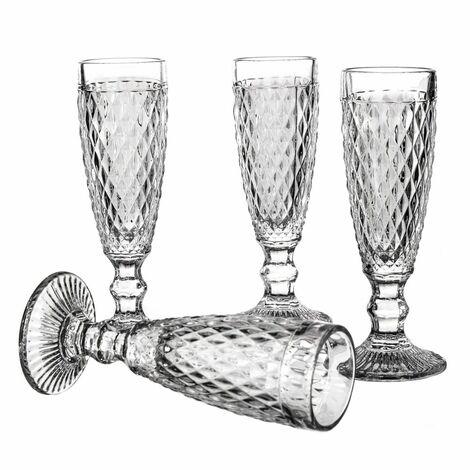 Copa de cristal transparente elegante Diamond Set de cuatro