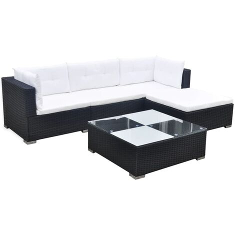 Copeland 4 Seater Rattan Corner Sofa Set by Dakota Fields - Black