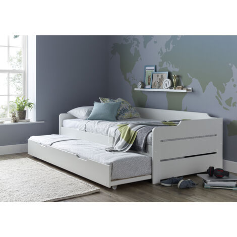 Copella Guest Bed White With Trundle With Spring Mattresses