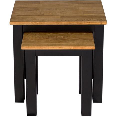 Copert Nest of Tables Black Frame-Oiled Wood