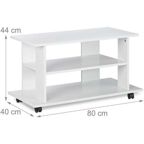 Copie de Meuble TV 2 compartiments console table sur roulettes 80 cm blanc - Blanc