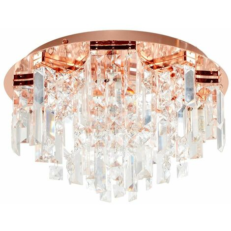 Copper 5 Way Lead Crystal Jewel Diamond Droplet Flush Ceiling Chandelier Fitting