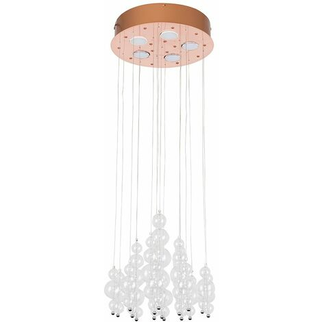 Copper 5 Way Suspended Clear Glass Bubble Droplet Ceiling Pendant Spotlight Fitting