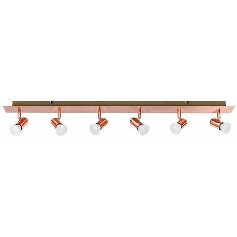 Copper 6 Way Adjustable GU10 Ceiling Spotlight 5W LED Bulbs Warm White