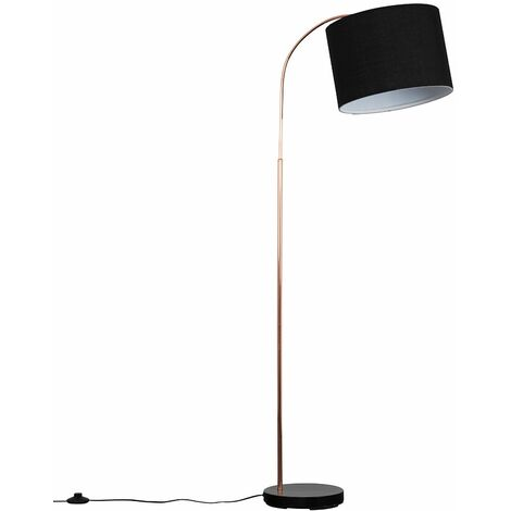 Copper / Black Curved Floor Lamp + Black Shade 6W LED Bulb Warm White
