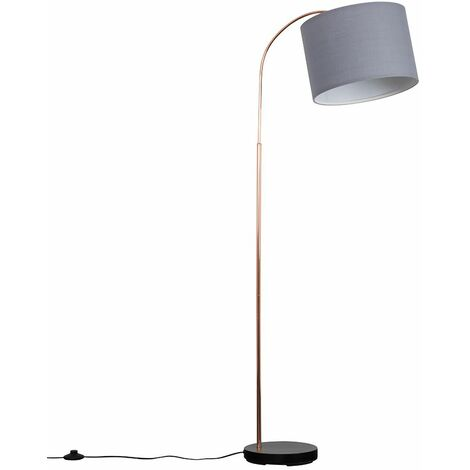 Copper / Black Curved Floor Lamp + Grey Shade 6W LED Bulb Warm White