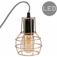 Copper Cage Bedside Table Lamp + 4w LED Filament Amber Light Bulb - 2700K Warm White