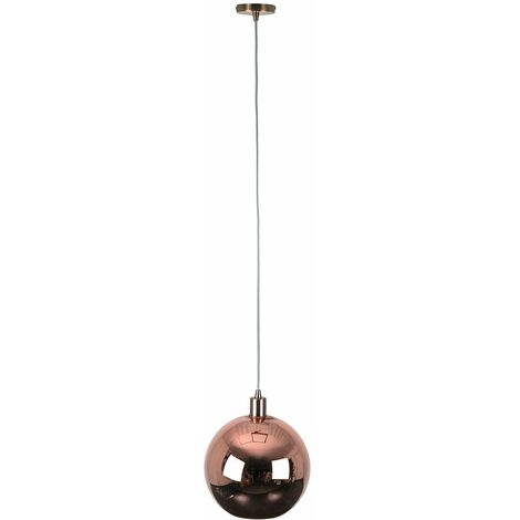 Copper Ceiling Flex Lamp Holder + Copper Gold Glass Ball Ceiling Pendant Light Shade - Copper