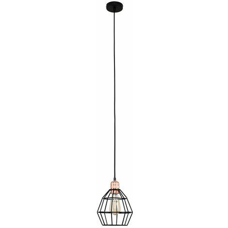 Copper Ceiling Lampholder + Black Basket Shade - 4W LED Filament Light Bulb Warm White