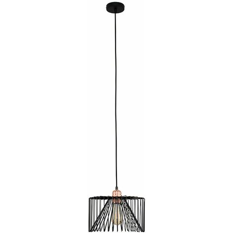 Copper Ceiling Lampholder + Black Wire Shade