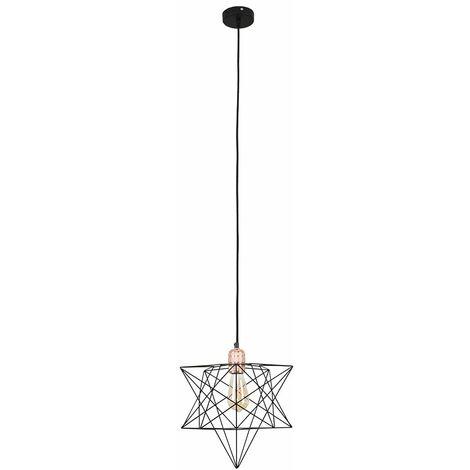 Copper Ceiling Pendant Light + Black Geometric Star Shade - 4W LED Filament Bulb Warm White - Copper
