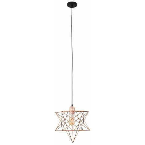 Copper Ceiling Pendant Light + Geometric Star Shade - 4W LED Filament Bulb Warm White