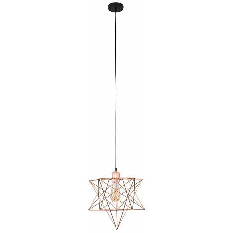 Copper Ceiling Pendant Light + Geometric Star Shade - 4W LED Filament Bulb Warm White - Copper