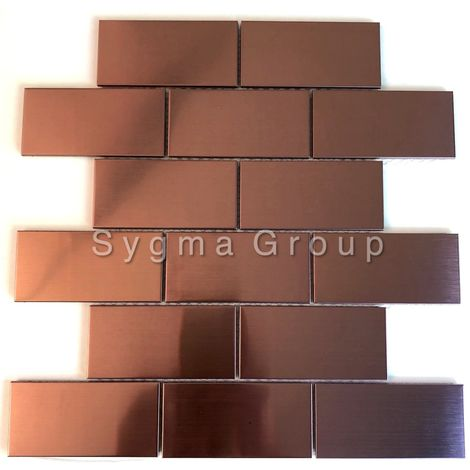 Copper coloured stainless steel kitchen wall tile subway LOFT CUIVRE
