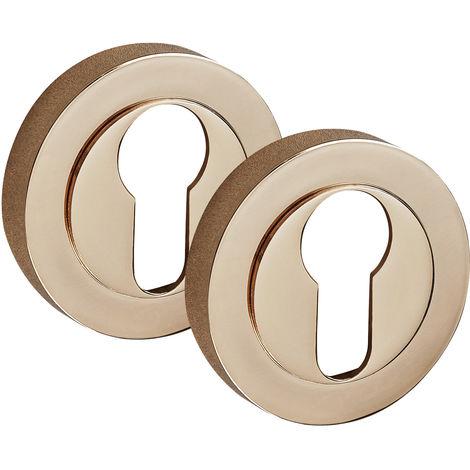 Copper Escutcheon Pair with Euro Profile