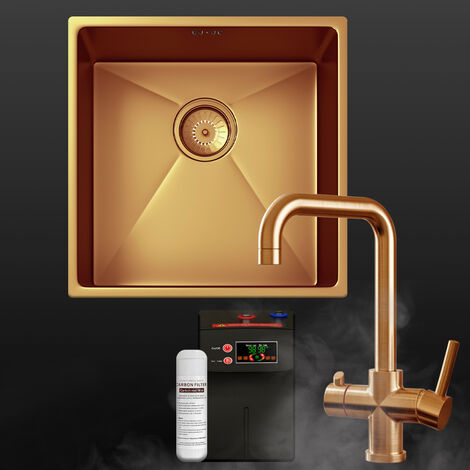 """main image of """"Copper OR Gold 1.0 Single Bowl Kitchen Sink with 3in1 Instant Cold Hot Tap"""""""