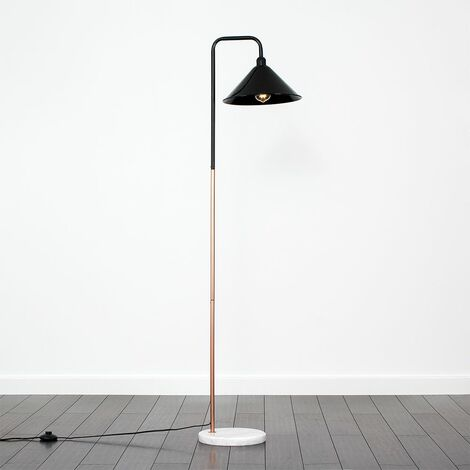 Copper Floor Lamp White Marble Base Black Light Shade