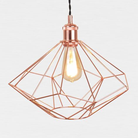 Copper Geometric Pendant Light Fitting