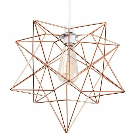 Copper Geometric Star Ceiling Pendant Light Shade - 4W LED Filament Bulb Warm White