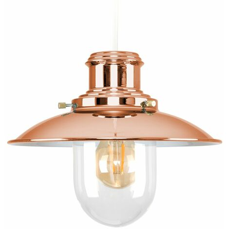 Copper & Glass Vintage Lantern Easy Fit Ceiling Lamp Pendant