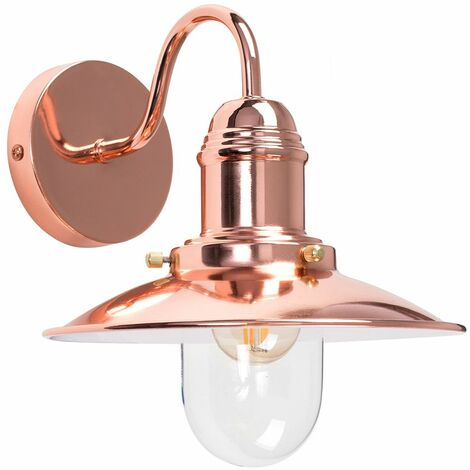Copper & Glasslantern Wall Light + 4W LED Filament Clear Golfball Bulb - Warm White