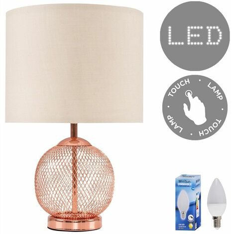 Copper Mesh Ball Touch Dimmer Table Lamp + Beige Light Shade 5W LED Candle Bulb - Warm White