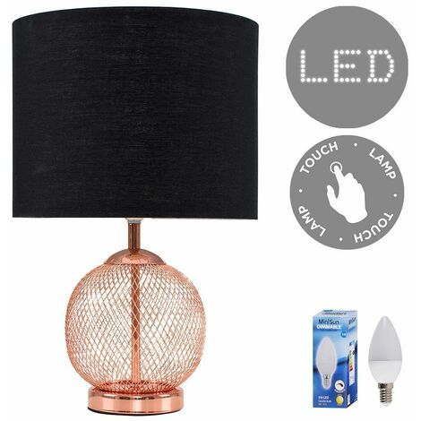 Copper Mesh Ball Touch Dimmer Table Lamp + Black Light Shade 5W LED Candle Bulb - Warm White