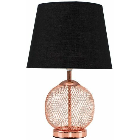 Copper Mesh Ball Touch Dimmer Table Lamp + Black Light Shade