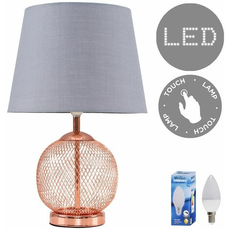 Copper Mesh Ball Touch Dimmer Table Lamp + Grey Light Shade 5W LED Candle Bulb - Warm White