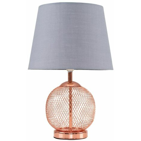 Copper Mesh Ball Touch Dimmer Table Lamp + Grey Light Shade
