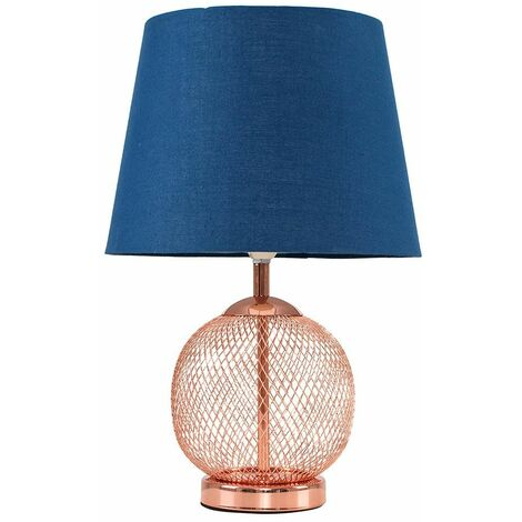 Copper Mesh Ball Touch Dimmer Table Lamp + Navy Blue Light Shade