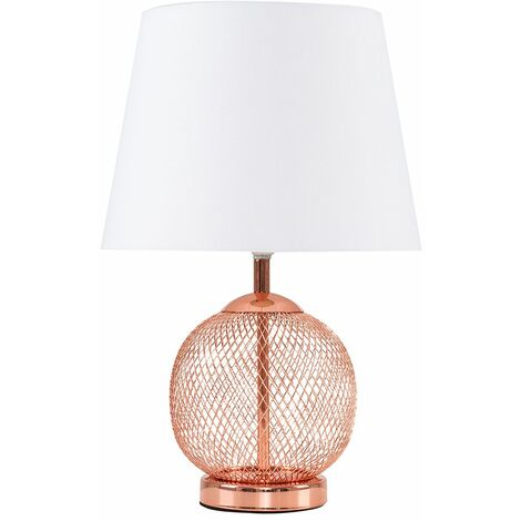 Copper Mesh Ball Touch Dimmer Table Lamp + White Light Shade