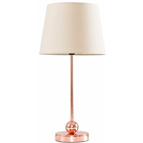 Copper Metal Ball Table Lamp + Beige Shade + 4W LED Golfball Bulb Warm White