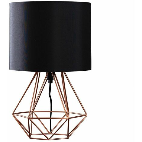 Copper Metal Basket Cage Table Lamp + Black Fabric Shade