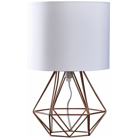 Copper Metal Basket Cage Table Lamp + White Fabric Shade