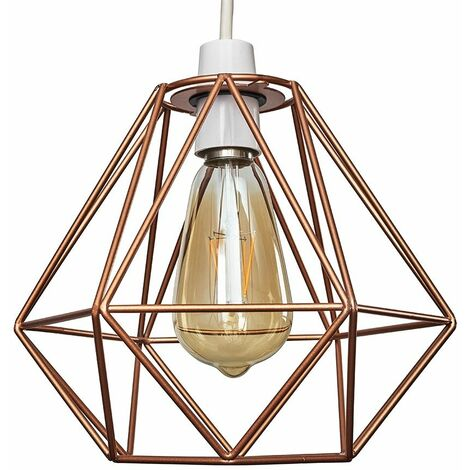 Copper Metal Ceiling Pendant Light Shade - 4W LED Filament Bulb Warm White - Copper