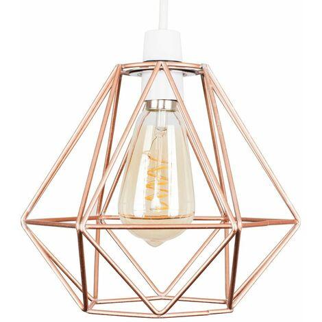 Copper Metal Ceiling Pendant Light Shade - 4W LED Helix Filament Bulb 2200K Warm White