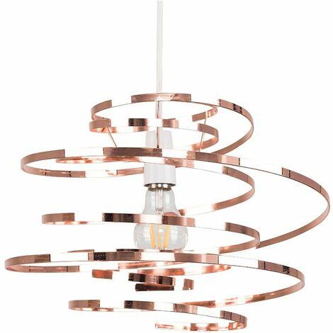 Copper Metal Double Ribbon Spiral Swirl Ceiling Light Pendant