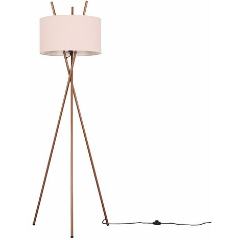 Copper Metal Tripod Base Floor Lamp Fabric Lampshade LED Light Bulb - Cool Grey
