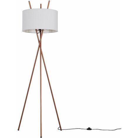 Copper Metal Tripod Base Floor Lamp Fabric Lampshade LED Light Bulb - Dark Grey